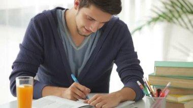 Söt kille sitter vid bordet studera — Stockvideo