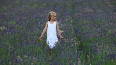 Girl walking in the field. — Stock Video