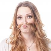 Girl with mustache playing various emotions — Stock Photo