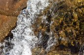 Closeup rapid waters of river strong — Stock Photo