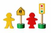 Wooden Figures with Traffic Lights — Stock Photo