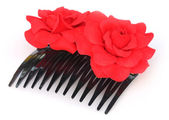 Hairclip with red flower — Stock Photo
