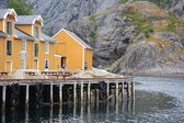 View of the harborin the  village Svolvar — Stock Photo