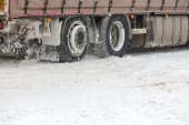 Truck driving in snow — Stock Photo