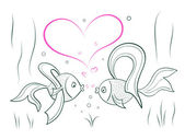 Couple in love fairy goldfish — Stock Vector