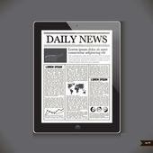 Genel tablet pc'de güncel haber — Stok Vektör