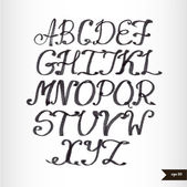 Handwritten calligraphic black watercolor alphabet — Stockvektor