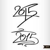 Happy New Year Handwritten calligraphic watercolor 2015 — Stock Vector