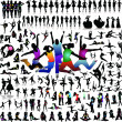 Vector set of 100 very detailed people silhouettes — Stock Vector #55349973