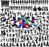 Vector set of 100 very detailed people silhouettes — Stock Vector