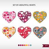 Set of six beautiful hearts — Stock Vector