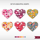 Set of six beautiful hearts — Vetor de Stock