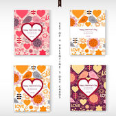Set of four Happy Valentines Day Greeting cards. Love background. — Stock Vector