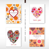 Set of four Happy Valentine's Day Greeting cards.  — Stock Vector