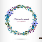 Watercolor wreath with flowers,foliage and branch. — Stock Vector