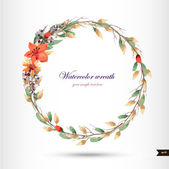 Watercolor wreath with flowers,foliage and branch. — Vecteur