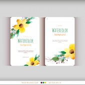 Set of abstract watercolor cards. Watercolor flowers. — Stock Vector