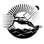 Kite surfing — Stock Vector