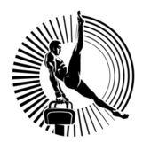 Athlete on the pommel horse — Wektor stockowy