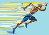 Artistic stylized running man in motion — Vector de stock