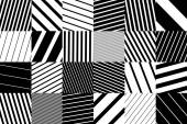 Abstract geometric pattern background with black and white striped squares — Stock Vector