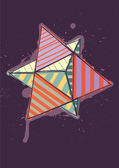 Dual tetrahedron with hand drawn color hatching — Stock Vector