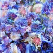 Stylized colorful cornflowers on grunge stained hazy background — Stock Photo