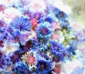 Floral card with bouquet of stylized cornflowers on grunge stained hazy background — Stock Photo