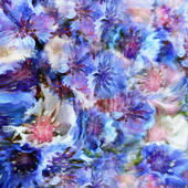 Abstract floral hazy background with stylized blue and white cornflowers — Stock Photo