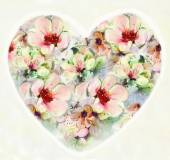 Greeting floral card with abstract heart with flowers on light background — Φωτογραφία Αρχείου