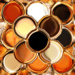 Abstract background with row of overlapping grunge circles in brown, orange,white,beige colors — Stock Photo #63029133