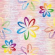 Abstract rainbow flowers on grunge striped colorful background in seamless composition — ストックベクタ #67946845