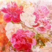 Stilizzato Peonie bianche e rosa su grunge luminoso colorato sfondo colorato — Foto Stock