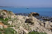 Rocky coastline of Antibes in France — Stock Photo