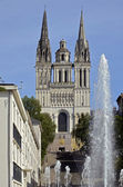 Facade cathedral Saint Maurice at Angers in France — Stock Photo