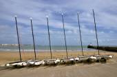 Boats on beach Les Sables d'Olonne in France — Stock Photo