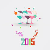 2015 New Year's cocktails — Stock Vector