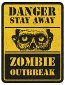 Zombie. Warning sign. Hand drawn. Vector illustration eps8 — Stock Vector