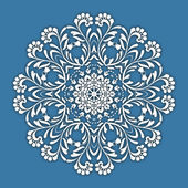 Abstract vector circle floral ornamental border. Lace pattern design. White ornament on blue background. Can be used for banner, web design, wedding cards and others — Vector de stock