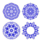 Abstract vector circle floral ornamental border. — Stock Vector