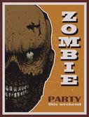 Vector Halloween zombie party banner — Cтоковый вектор
