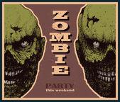 Vector Halloween zombie party banner — Stock Vector