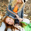Two teenagers girl taking selfe with camera — Stock Photo #52247707