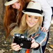 Two teenagers girl taking selfe with camera — Stock Photo #52248105