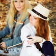 Two teenagers girl taking selfe with camera — Stock Photo #52248145