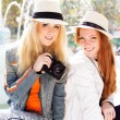 Two teenagers girl taking selfe with camera — Stock Photo #52430995