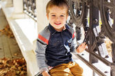 Little toddler boy in autumn park — Stock Photo