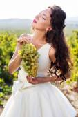 Bride in a vineyard, autumn — Foto de Stock