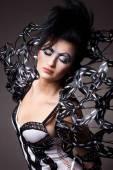 Vogue style dressed woman. design dress — Stock Photo