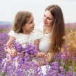 Child girl with mother in lavender field are holding basket — Stock Photo #76805755